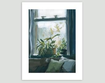 House Plants Art Print - Plants on the Windowsill – Fine Art Print of Original Painting