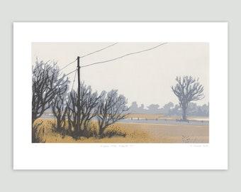 Landscape Screenprint - Roadside Fog – Between Cities Series