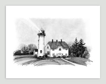 Lighthouse Art Print - Cape Cod Lighthouse on a Foggy Day
