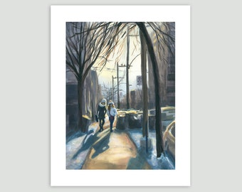Winter Cityscape - Friends Heading Home at the End of the Day – Fine Art Print of Original Painting