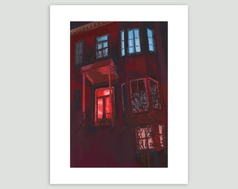 Night House Print - Montreal House at Night – Fine Art Print of Original Painting