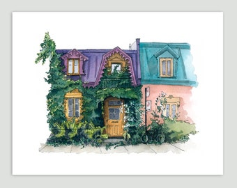 Montreal with vines – Fine Art Print of Original Watercolour Painting
