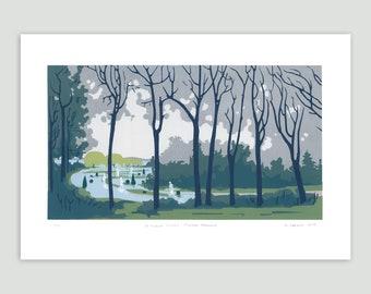 Landscape Screenprint - Flooded Gardens – Between Cities Series