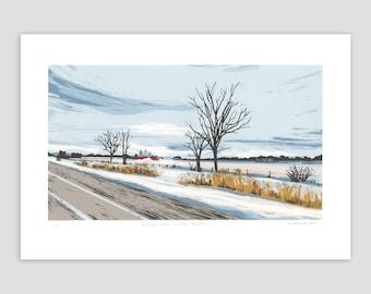 Landscape Screenprint - Winter Grasses – Between Cities Series