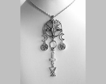 necklace baphomet head goat 3d half moon inverted pentagram pentacle cross snake ouroboros sigil seal lucifer satanic silver gothic occult