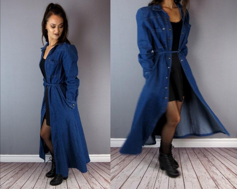 b650c032c8 Maxi Denim Jean Dress   Long Open Oversized Cardigan   Blue