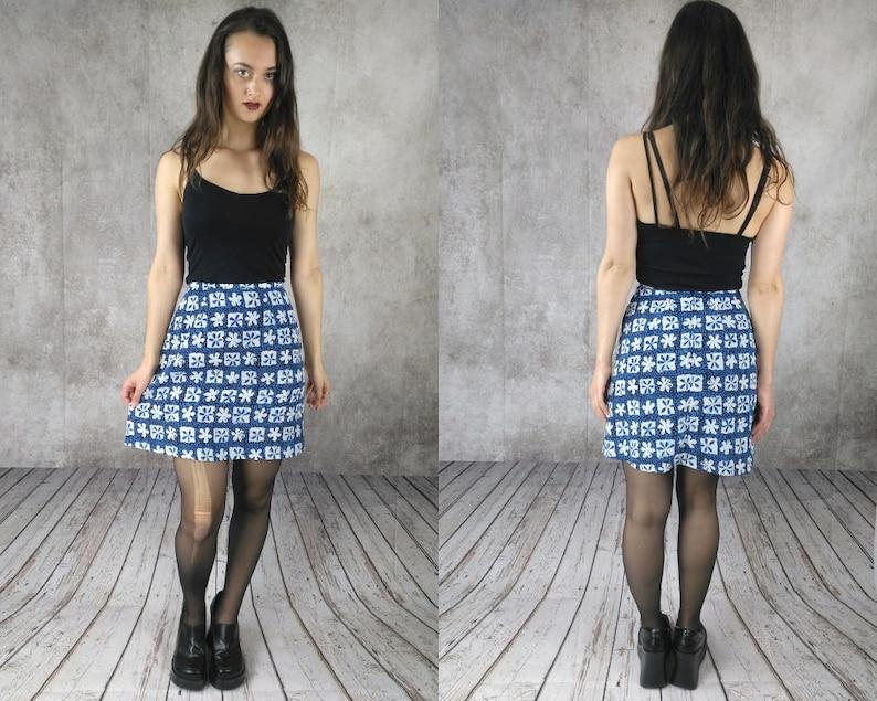 bd64e3379e9 Blue Skater Mini Skirt   90s Grunge Mini Skirt   Gothic Gypsy