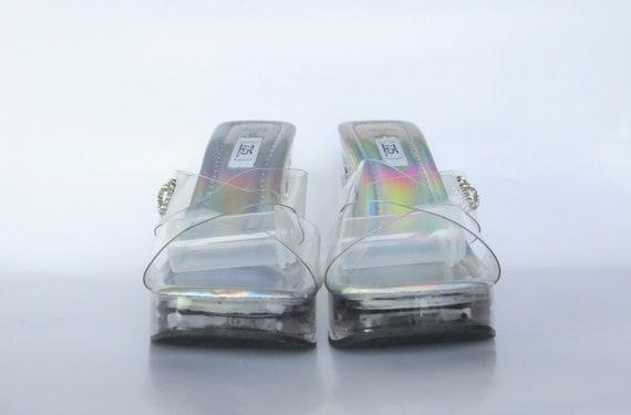 Size 7.5, Cinderella Heels, Jelly Sandals, Stripp… - image 3