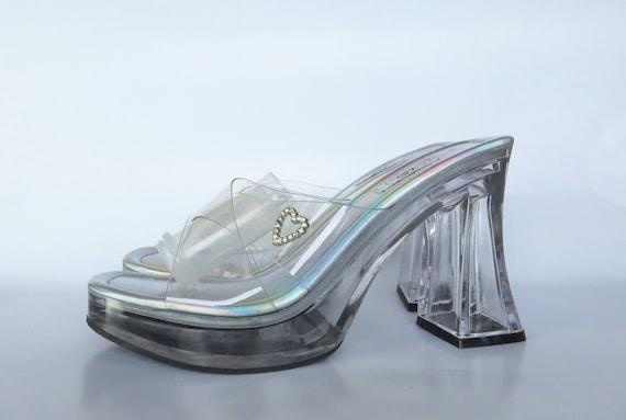 Size 7.5, Cinderella Heels, Jelly Sandals, Stripp… - image 1
