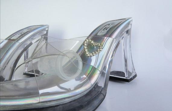 Size 7.5, Cinderella Heels, Jelly Sandals, Stripp… - image 2