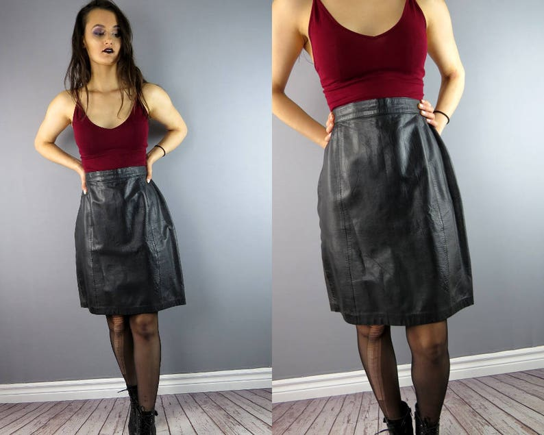 3f9a14f9ae Plus Size Grunge Rocker Punk Leather Mini Skirt / Plus Size | Etsy