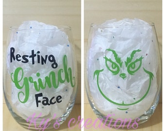 Resting Grinch face wine glass; the grinch glass; funny wine glass; christmas wine glass; holiday wine glass; the grinch who stole christmas