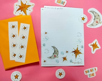 Celestial Writing Set with Envelopes / Moon and Star Stationery Pack / Welcome to the world Baby Letters / Gift for Child