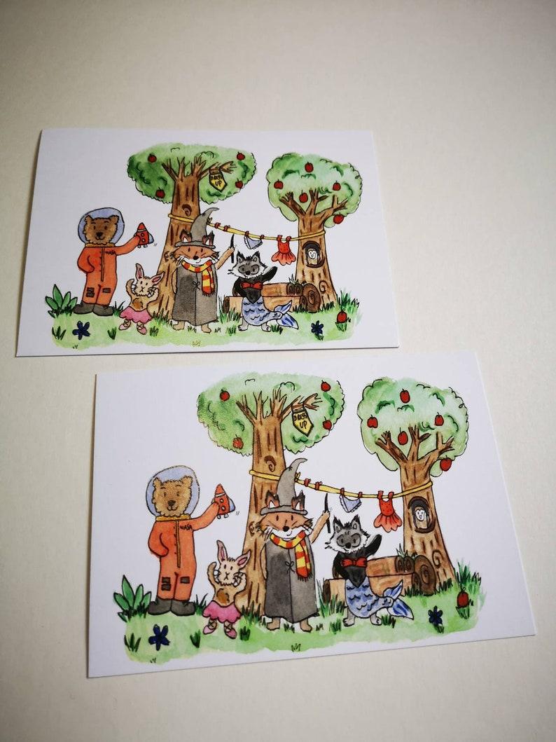 Woodland animal notecard set Storybook Scrapbook fairytale child gift