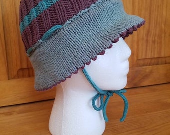 Toddler Handknit cotton and merino wool Sun Hat