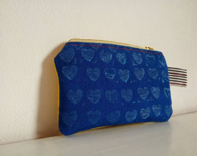 Canvas mini zippered case, made from handmade printings and screen printing medias