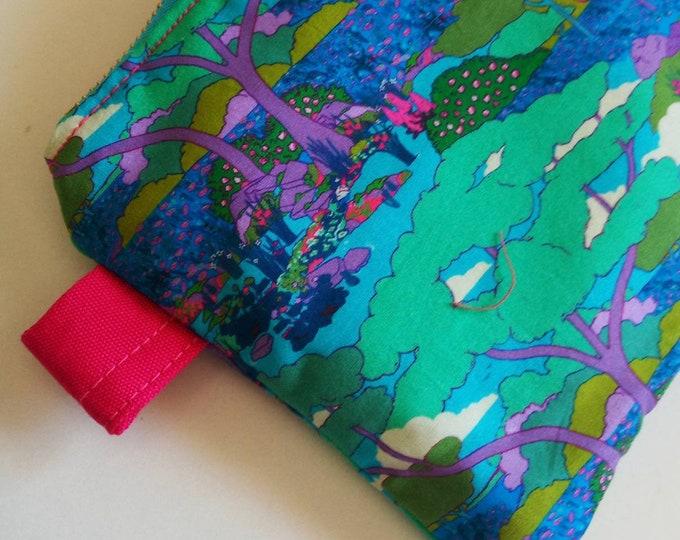 Liberty of London clutch purse ,Japanese style pouch , Liberty print pouch  , handbag, storage case ,clutch ,blue pouch