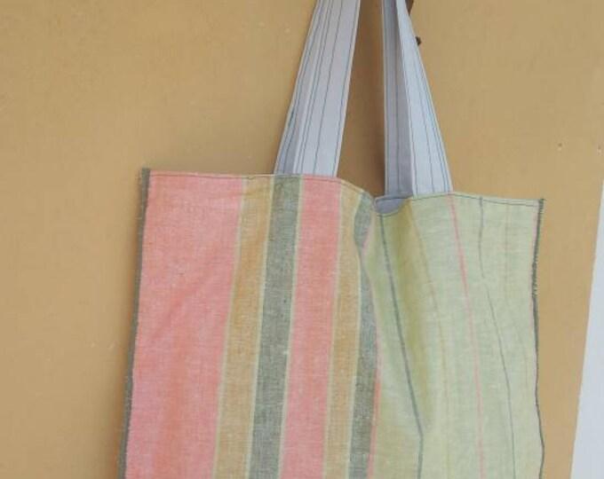 Linen pastel tote