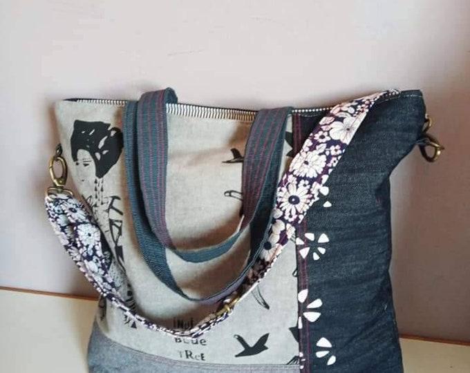 Big denim Cross body bag , adjustable removable body strap, lined, zippered. Twin shoulder straps, internal pockets.