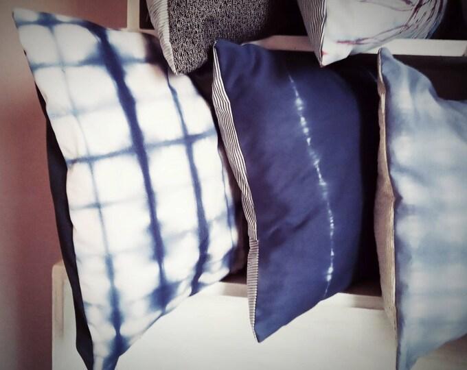 Decorative pillow cases , indigoblue dye, prints , envelope pillow cases