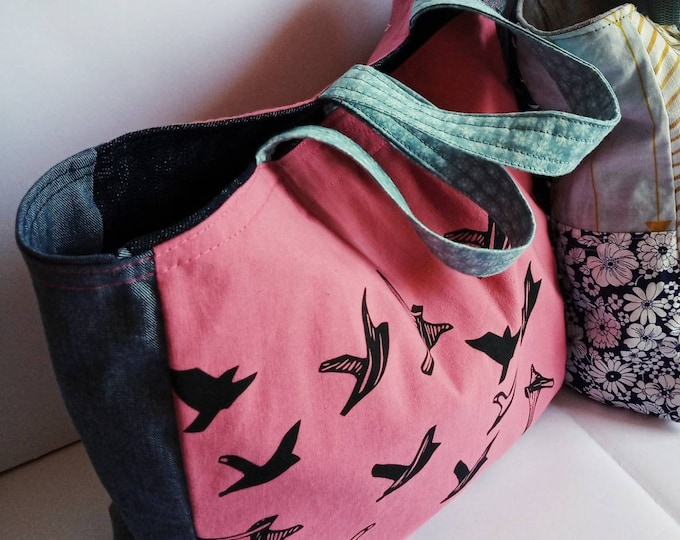 Medium sized lined , canvas tote bag.Lunch tote bag , bird pattern.