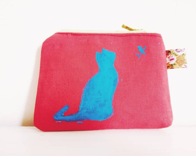 Catbird zippered pouch,  in three colours.