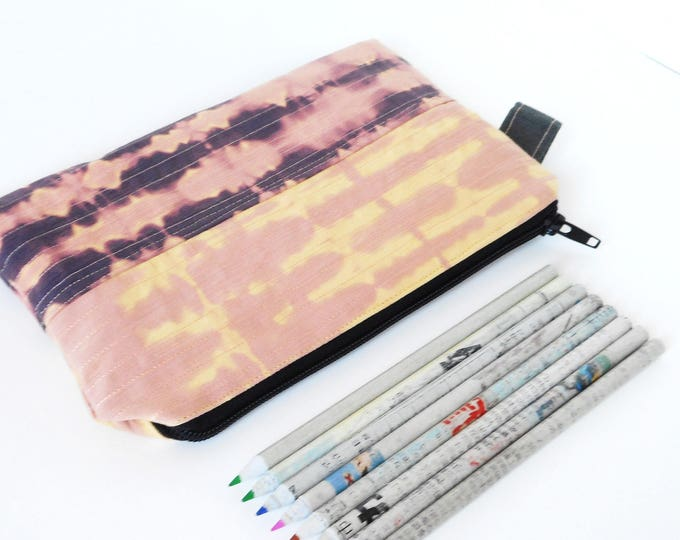 PINk pouch , Purple pencil case ,zippered pouch , card holder , pocket purse, coin purse  , Zipper Wallet, Woman Pouch