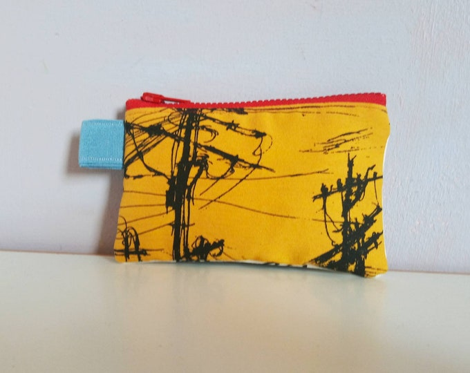 Handmade Canvas coin purse, with indigobluetree urban original  illustrations screen printed with black ink