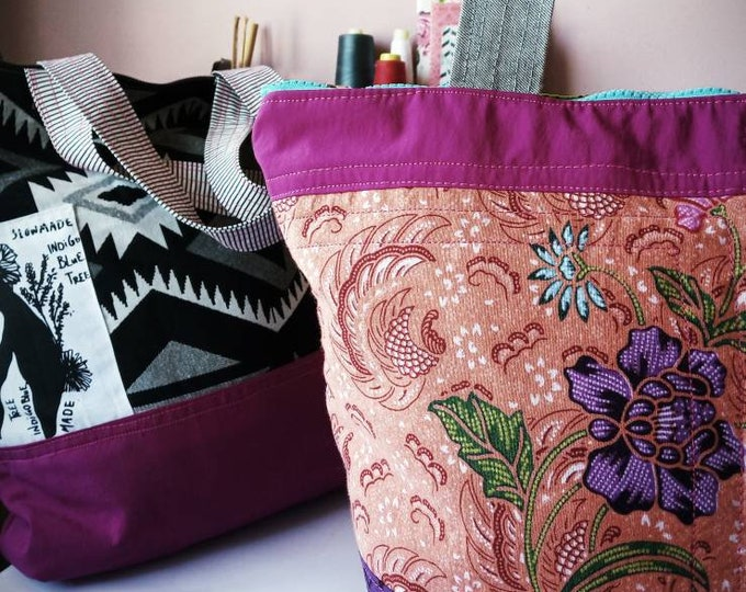 Patchwork  zippered lined tote bag, internal internal pockets