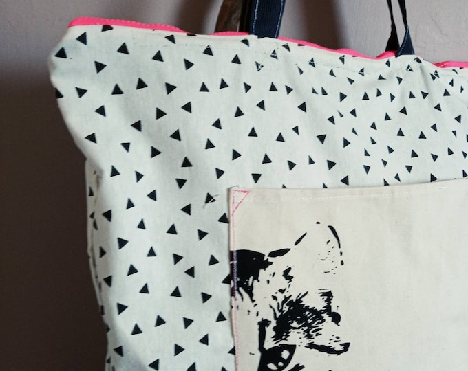 Extra Large canvas zippered lined  CAT tote bag.