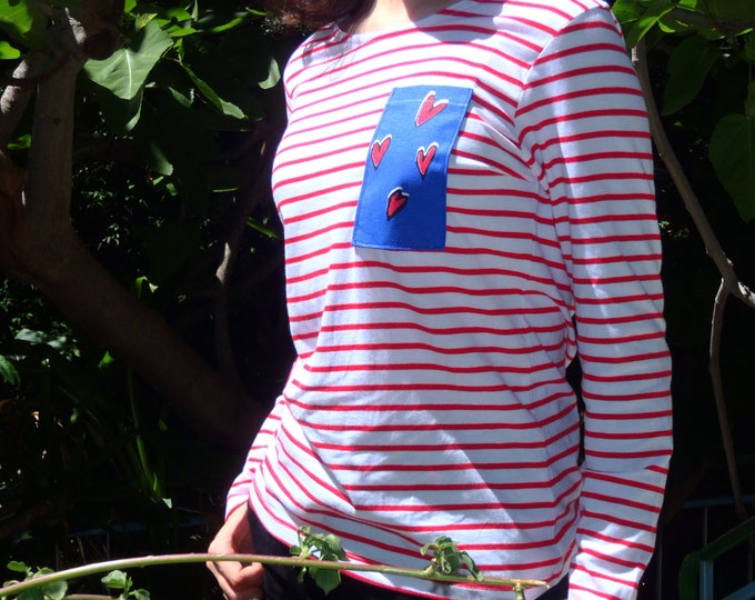 srtipped red white long sleeve t-shirt with printed chest pocket