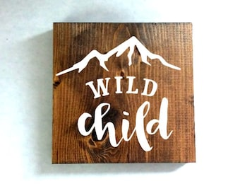 Wild child sign, nursery sign, kids room sign, baby shower gift