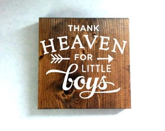 Thank heaven for little boys sign, nursery sign, kids room sign, baby shower gift