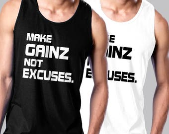 709821ec7a9f4 Make Gainz Not Excuses C392 - Men s Sleeveless Muscle Tee Shirts Cotton Tank  Fitness MMAby Gym Rabbit