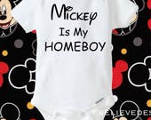 Mickey is my homeboy onesie ,trendy boys outfit ,humorous boys onesie ,funny boys shirt,humorous baby boy onesie , Mickey Mouse outfit ,gift