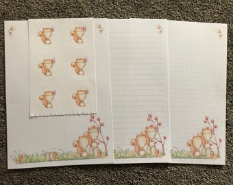 Squirrel 25 sheet letter writing paper & 6 sticker set