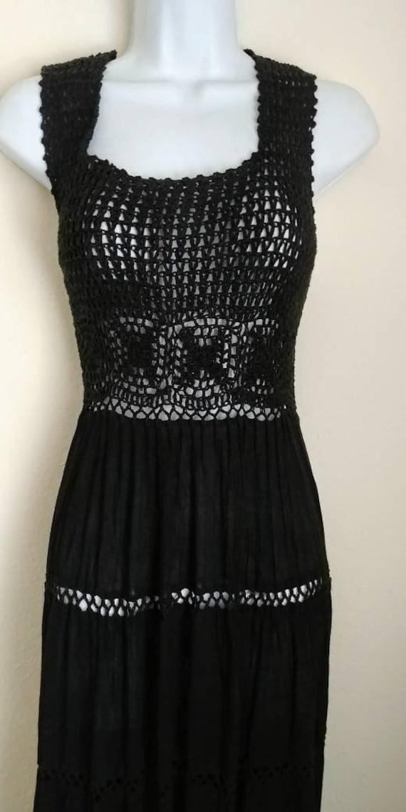 70's Black Knit Hippie Crochet Dress