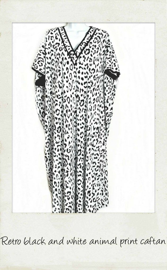 dca031f0f Retro Black & White Animal Print Caftan Dress Coverup | Etsy