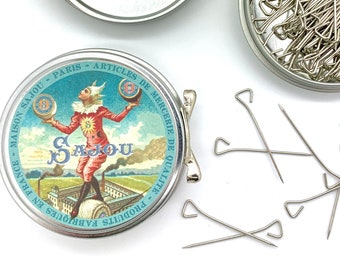 Triangle head pins | metal tin with lid, vintage style tightrope walker by Maison Sajou