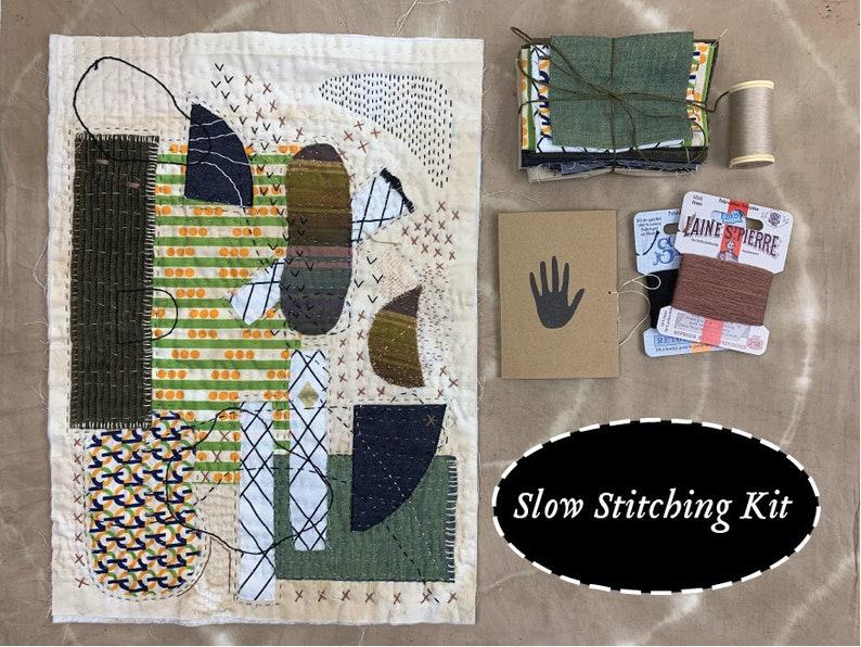 Slow Stitching Kit  Hand sewing embroidery inspiration kit image 0