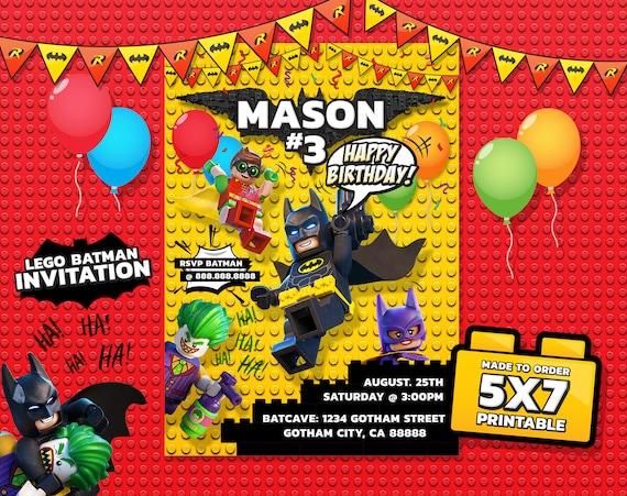 Lego Batman Invitation Lego Batman Birthday Lego Batman Etsy