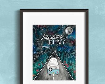 "8 x 10 ""Let's start the Journey"" Art Print Watercolor Illustration"
