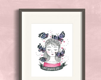 """8x10 """"Let Yourself Fly"""" Butterflies Art Print Watercolor Illustration"""