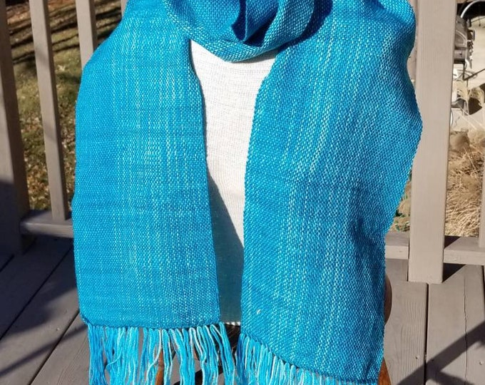 Aqua Variegated Handwoven Scarf