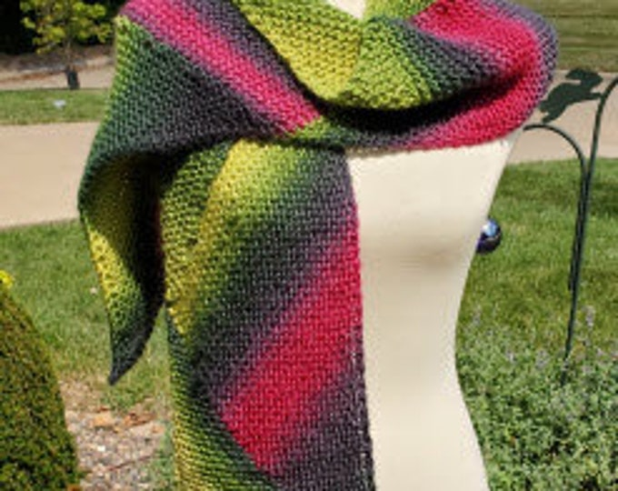 Hand-Knitted Variegated Wool Scarf