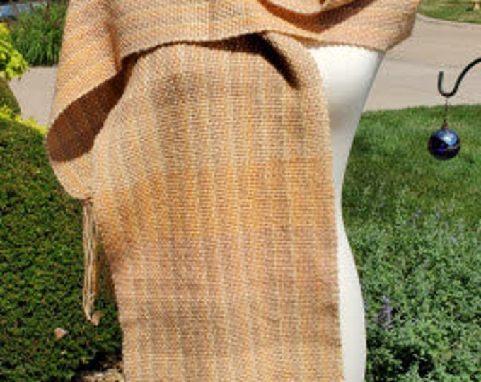 Gold -Tan Variegated Hand-woven Acrylic Scarf