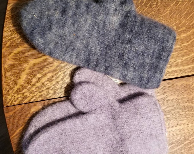 Knitted Felted Wool Mittens