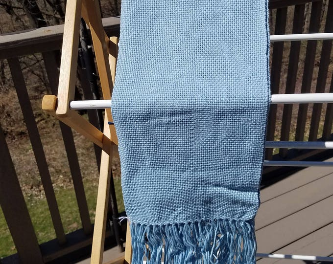 Light Blue Cotton Handwoven Scarf