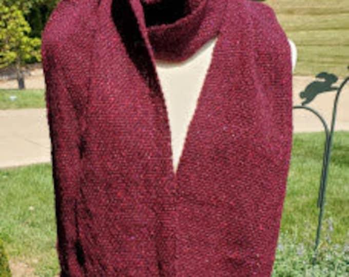 Dark Red Irish Wool Woven Scarf