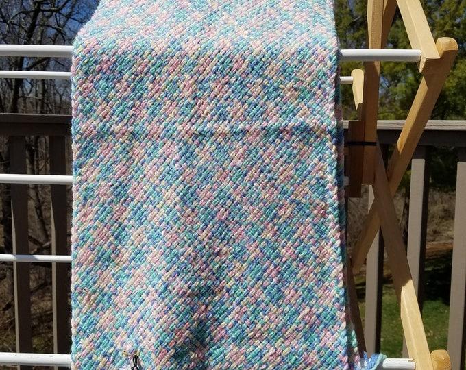 Bright pastel wool/acrylic scarf